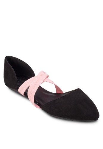 Play Arielle 撞色交叉帶尖頭側鏤空平底鞋esprit 童裝, 女鞋, 鞋