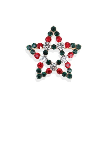 Glamorousky green Fashion Simple Plated Gold Hollow Star Brooch with Cubic Zirconia E4DE8ACD7120A5GS_1