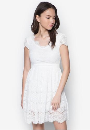 V 領esprit 台北蕾絲短袖連身裙, 服飾, 洋裝