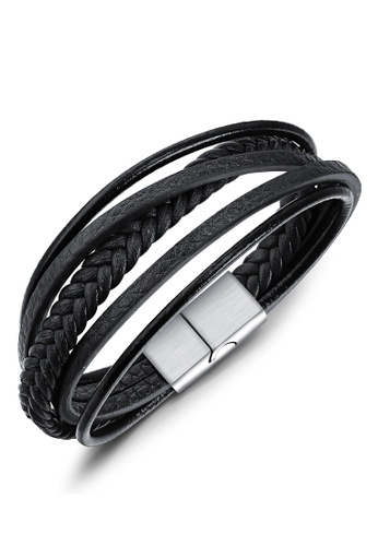 Trendyshop black Men's Leather Bracelet 7DAAFAC5C55945GS_1