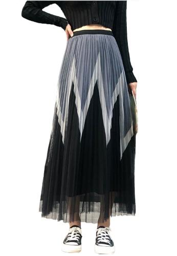 Halo black Layered Net Yarn Pleated Skirt 6D76AAA7377FB1GS_1