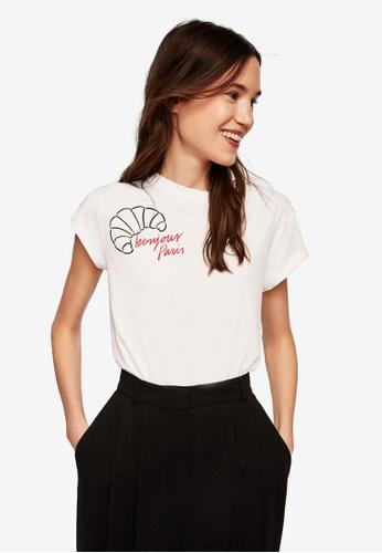 Mango white Bonjour Paris T-Shirt 47DFAAA9E3C7A0GS_1