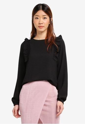 Vero Moda black Long Sleeve Top D7C3FAAE92DE36GS_1