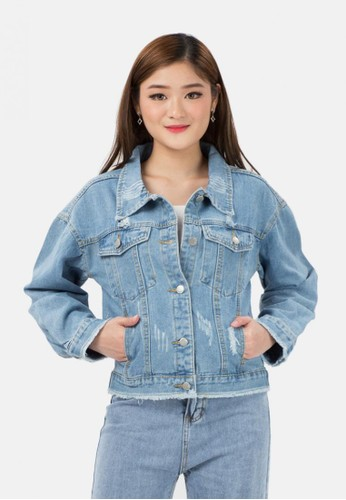 MKY Clothing blue Unfinished Destoyed Denim Jacket 9D98CAAED5A963GS_1