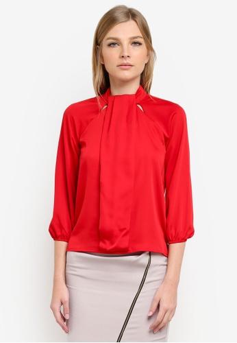 Vesper red Larissa Midi Sleeve Blouse VE733AA0S79RMY_1