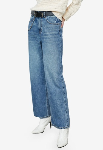 URBAN REVIVO blue Fashion Wide Leg Jeans 0F0D1AAD4D3E1FGS_1