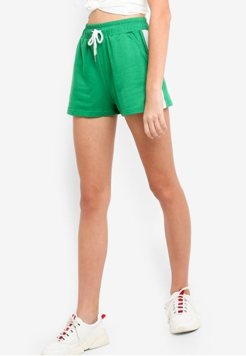 Something Borrowed green Contrast Binding Shorts D05E7AAB4216A3GS_1
