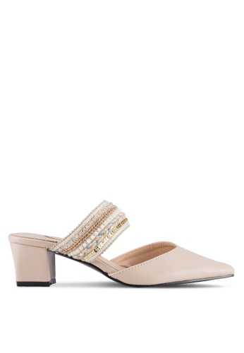 Sunnydaysweety pink Retro Tight Toe Mule Heel A0210GY 91B24SHA4F6DFDGS_1