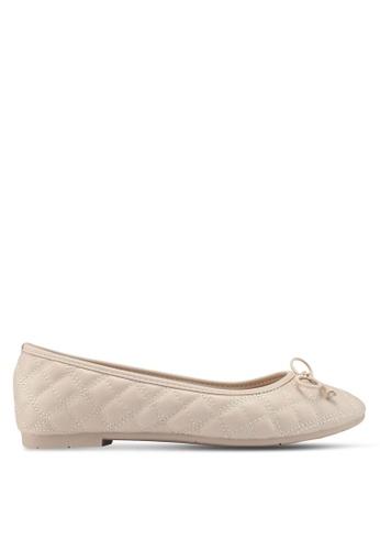 Bata beige Quilted Ballerina Flats DF499SHE2BFF15GS_1