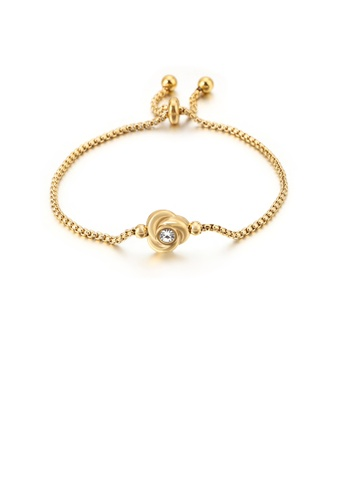 Glamorousky white Simple and Elegant Plated Gold Rose 316L Stainless Steel Bracelet with Cubic Zirconia 4645DAC0DFD836GS_1