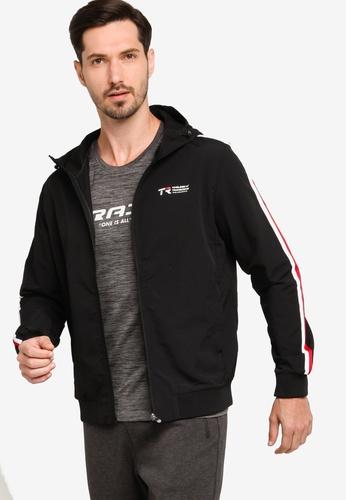 361° black Hooded Sports Jacket E77E8AA4AB88ADGS_1