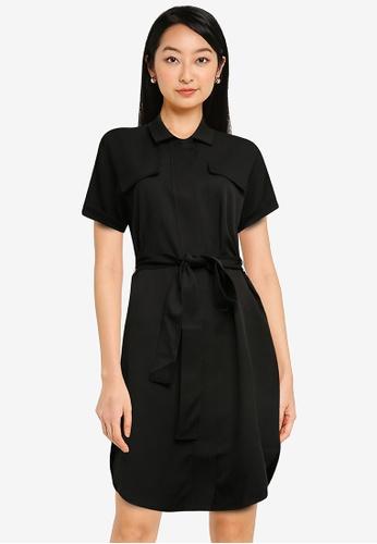 ZALORA BASICS black Utility Dress with Self Tie 49148AA09912A5GS_1