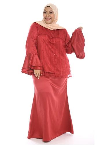 Mariani Modern Kurung from PLUMERIA in red_1