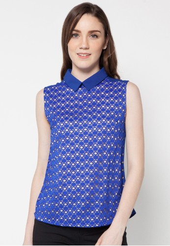 Raspberry blue Oriana Sleeveless Blouse RA572AA92EUTID_1