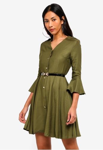 Hopeshow green Trumpet Cuff V-Neck Dress With Belt 1F4CBAA3930134GS_1