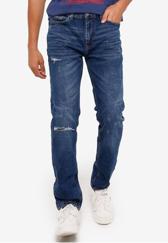 Springfield blue Slim Fit Rip Jeans 41312AA4D2AACAGS_1