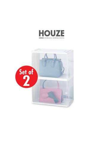 HOUZE white [SET OF 2] HOUZE - Stackable Luxury Bag See Thru Storage (Dim: 38x18x25.5cm) 674D6HL6E71228GS_1