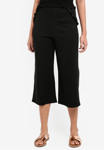Something Borrowed black Rib Culottes With Ruffle Details 2E316AA05EE14BGS_1