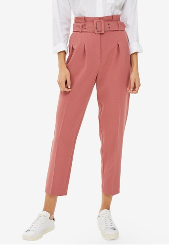 TOPSHOP pink Petite Belted Peg Trousers 8E0BDAA05279F9GS_1