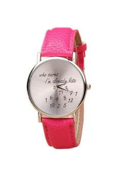 Who Cares Women's Pink Leather Strap Watch