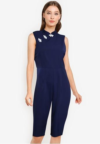 ZALORA OCCASION navy Mandarin Collar Culotte Jumpsuit 3202AAA2A22936GS_1