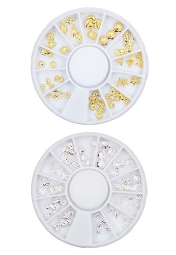 Pretty2u silver and gold Nail Accessories Tiny Under The Sea Metal Stud  2PCS Design Set 9E0B6BEE56CCF3GS_1