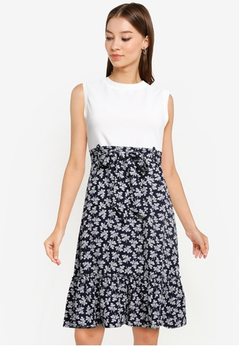 ZALORA WORK multi Contrast Fabric Fluted Hem Dress 5D141AA16B0710GS_1