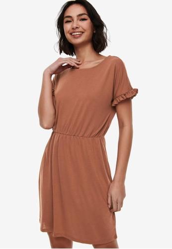JACQUELINE DE YONG brown Karen Frosty Short Sleeve Dress 61863AA5F68F82GS_1
