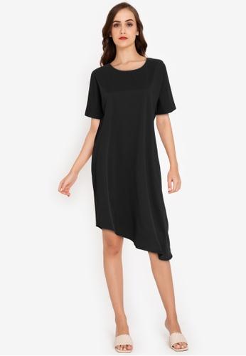 ZALORA WORK black Asymmetric Hem Dress 7AB0AAA637BC2EGS_1