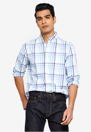 GAP blue V-Su Long Sleeve Poplin Shirt 41995AA8559AFBGS_1