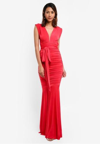 Goddiva red Open Back Multi Tie Maxi Dress 119A3AAD2C4005GS_1