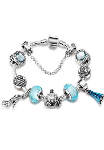 LOVENGIFTS white and blue and silver Princess Fairy Tales Beaded Bracelet LO429AC09SWGMY_1