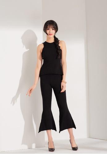 Zafiti black Sleeeveless Vest with Flare Pants Set 642FDAADFB3AF2GS_1