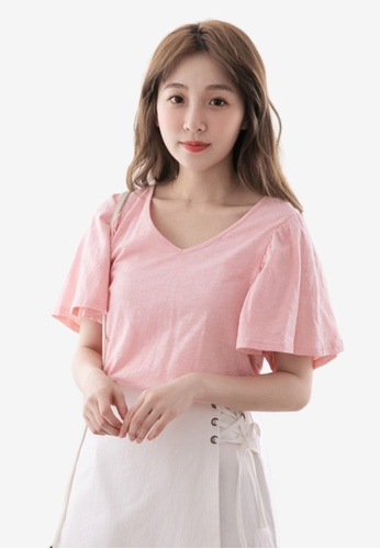 Eyescream pink Flare Sleeves V-Neck Top 50167AA7324B3CGS_1