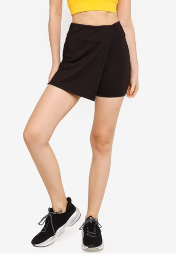 ZALORA ACTIVE black High Rise Wraparound Skorts B5B2CAA77A5739GS_1