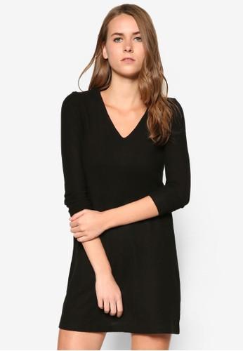 V 領暗紋長袖連身裙, zalora鞋子評價服飾, 洋裝