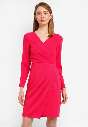 CLOSET pink Pleated Pencil Wrap Dress 6E6CEAA656E5E7GS_1