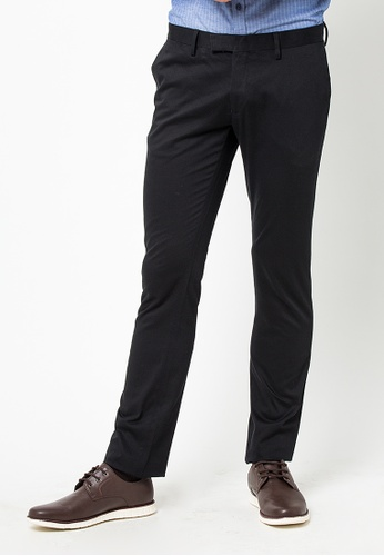 The Executive black Skinny Cotton Pants 77FD9AA012CF98GS_1