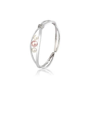 Glamorousky white 925 Sterling Silver Fashion Simple Geometric Freshwater Pearl Open Bangle with Cubic Zirconia B2471AC97F09CDGS_1