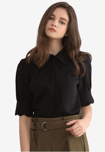 Kodz black Scallop Sleeve Blouse 4D7BBAA4548569GS_1