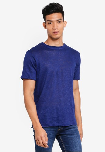 MANGO Man blue Slub Linen-Blend T-Shirt 5A6F3AA3460B32GS_1
