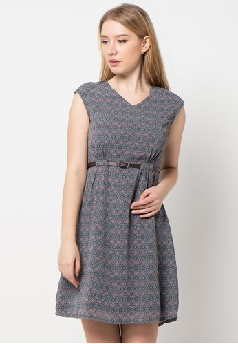EDITION grey Belted Dress ED101AA28ANJID_1