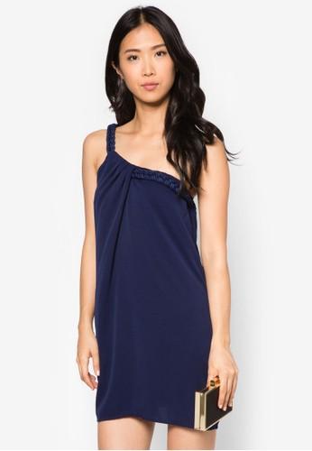 編織帶單肩zalora 評價迷你連身裙, 服飾, 洋裝