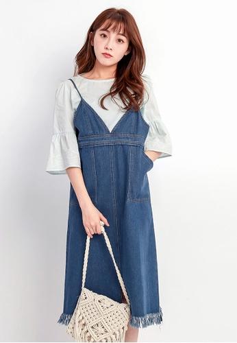Tokichoi blue Denim V-Neck Overalls 62CC7AAA4A1BA8GS_1