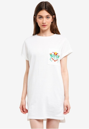 Something Borrowed white Embroidered Pocket Tee Dress 00705AAAAD4FC8GS_1