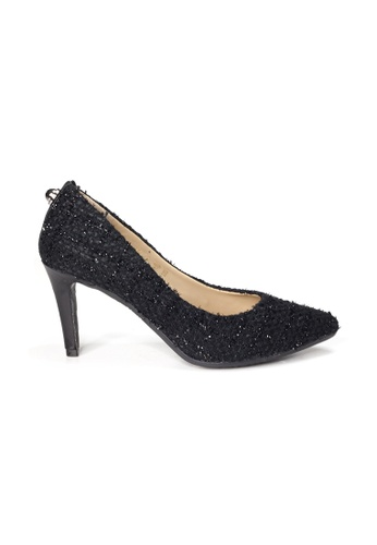 Shu Talk black LeccaLecca Black Tweed Fabric Pointed Toe Leather Heels 51BB9SHF51C9A6GS_1