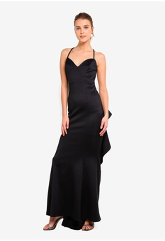 8d630b250edd59 15% OFF Goddiva Fishtail Maxi Dress With Open Back And Waterfall Frills S   101.90 NOW S  86.90 Sizes 8 10 12
