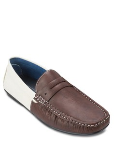 Mixed Material Contrast Moccasins