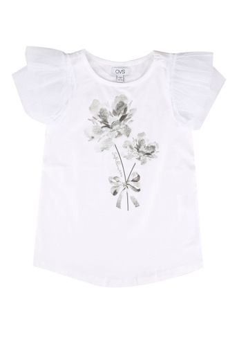 OVS white T-Shirt With Sleeves In Printed Tulle AC28EKA1492161GS_1