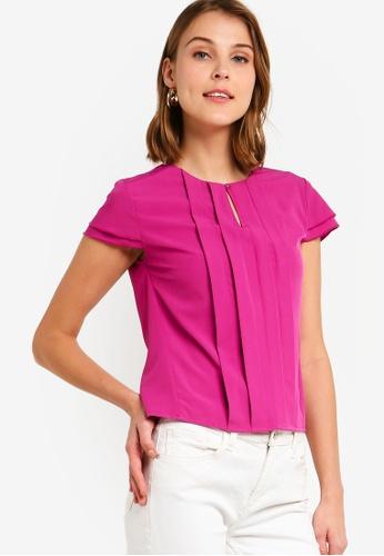 ZALORA 粉紅色 褶飾上衣 45727AAB39BD9FGS_1